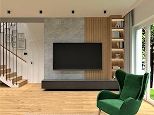 DOM POD WROCŁAWIEM - Średni szary biały salon z bibiloteczką z tarasem / balkonem, styl nowoczesny - zdjęcie od BDWstudio