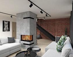 DOM W DĘBLINIE - Średni biały salon, styl industrialny - zdjęcie od BDWstudio