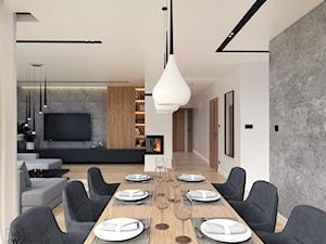 DOM W FIRLEJU - Duży szary biały salon z jadalnią, styl nowoczesny - zdjęcie od BDWstudio
