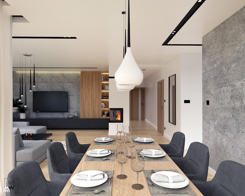 DOM W FIRLEJU - Duży szary biały salon z jadalnią, styl nowoczesny - zdjęcie od BDWstudio - Homebook