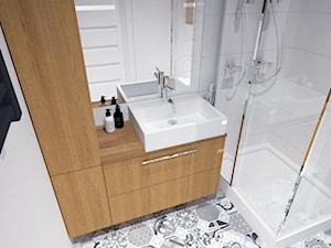 ŁAZIENKA ORGANOWA - Mała biała łazienka na poddaszu w bloku w domu jednorodzinnym bez okna, styl nowoczesny - zdjęcie od BDWstudio