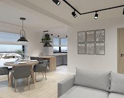 DOM W DĘBLINIE - Średnia otwarta biała jadalnia w kuchni w salonie, styl industrialny - zdjęcie od BDWstudio