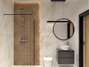Marmurowa łazienka z prysznicem - zdjęcie od BDWstudio