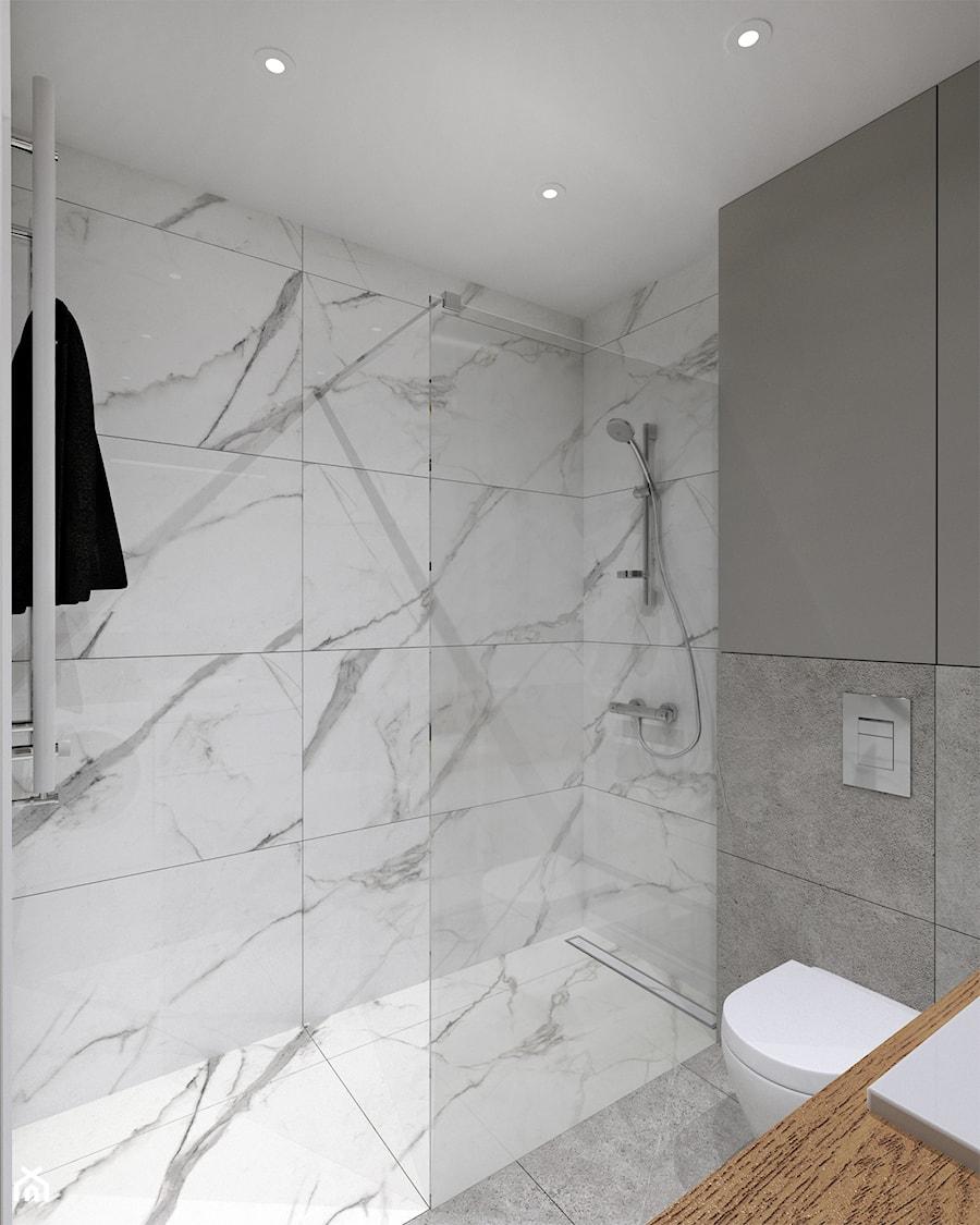 Pełczyńskiego, Warszawa - Średnia szara łazienka w bloku w domu jednorodzinnym bez okna, styl minimalistyczny - zdjęcie od BDWstudio