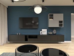 ADAPTACJA PIĘTRA DOMU - Średni niebieski salon, styl nowoczesny - zdjęcie od BDWstudio