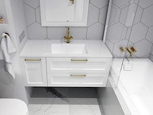 KLASYCZNE MIESZKANIE NA FELINIE - Mała biała łazienka na poddaszu w bloku w domu jednorodzinnym bez okna, styl klasyczny - zdjęcie od BDWstudio