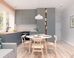Mieszkanie na Odolanach - Średnia biała kuchnia w kształcie litery l w aneksie z oknem, styl skandy ... - zdjęcie od BDWstudio - Homebook