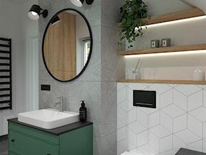 DOM POD WROCŁAWIEM - Średnia szara łazienka na poddaszu w domu jednorodzinnym z oknem, styl nowoczesny - zdjęcie od BDWstudio
