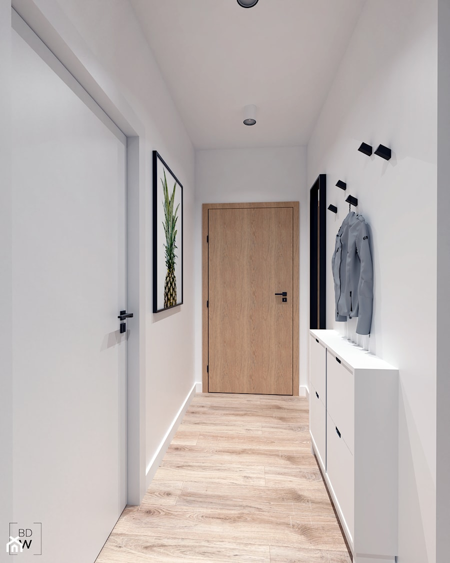 Mieszkanie na Odolanach - Średni biały hol / przedpokój, styl skandynawski - zdjęcie od BDWstudio