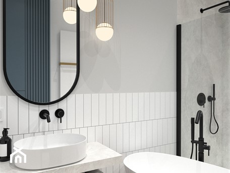 Aranżacje wnętrz - Łazienka: MIESZKANIE W KAMIENICY - Mała biała szara łazienka bez okna, styl nowoczesny - BDWstudio. Przeglądaj, dodawaj i zapisuj najlepsze zdjęcia, pomysły i inspiracje designerskie. W bazie mamy już prawie milion fotografii!