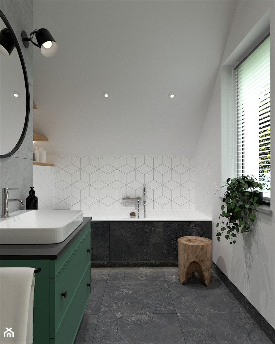 DOM POD WROCŁAWIEM - Średnia biała łazienka na poddaszu w domu jednorodzinnym z oknem, styl nowoczesny - zdjęcie od BDWstudio