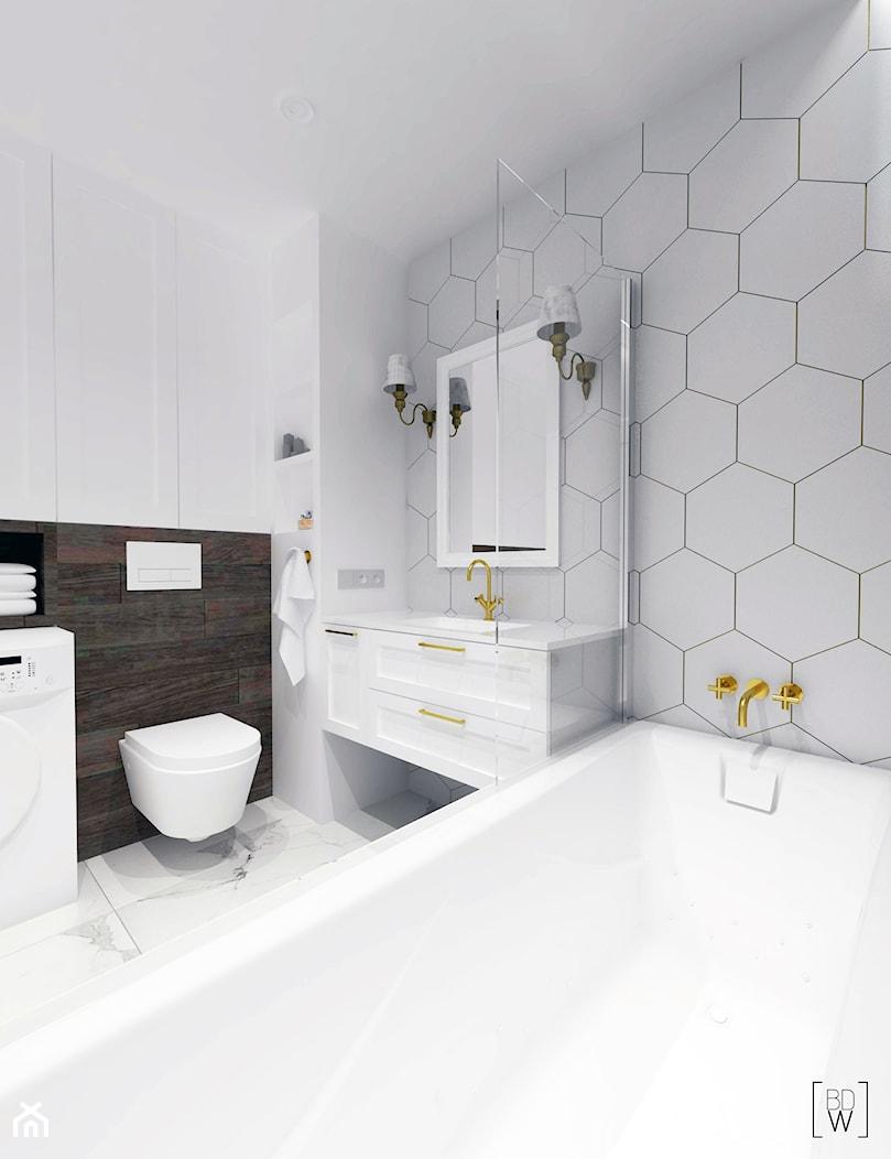 KLASYCZNE MIESZKANIE NA FELINIE - Mała szara łazienka na poddaszu w bloku w domu jednorodzinnym bez okna, styl klasyczny - zdjęcie od BDWstudio - Homebook