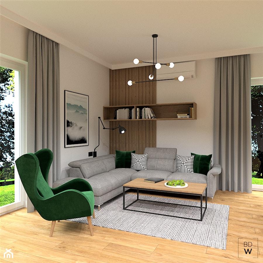 DOM POD WROCŁAWIEM - Średni biały salon, styl nowoczesny - zdjęcie od BDWstudio