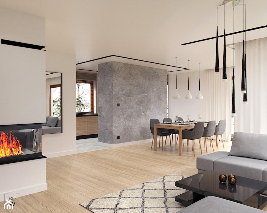 DOM W FIRLEJU - Średni beżowy salon z jadalnią, styl nowoczesny - zdjęcie od BDWstudio