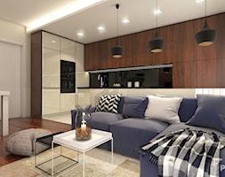 Mieszkanie pod Wawelem - Mały biały brązowy salon z kuchnią z jadalnią, styl nowoczesny - zdjęcie od Pokąty