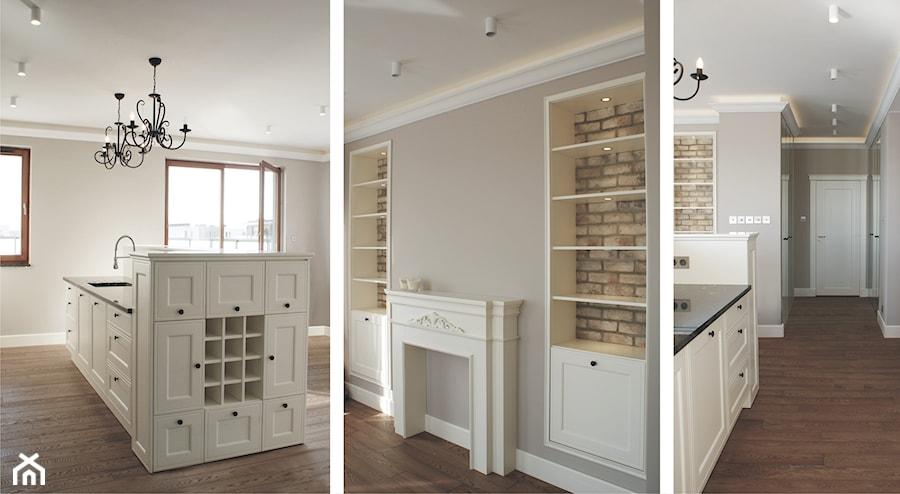 Projekt wnętrza mieszkania 62,5m2  Kuchnia, styl prowansalski  zdjęcie od m   -> Kuchnia Biale Cegly