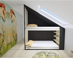 Poddasze w Rumi - Mały biały czarny kolorowy pokój dziecka dla chłopca dla dziewczynki dla rodzeństwa dla malucha dla nastolatka, styl nowoczesny - zdjęcie od Beton i Drewno - Studio Projektowania Wnętrz