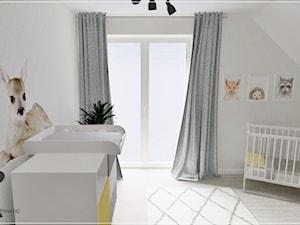 Pokój dziecięcy w Stężycy - Średni szary pokój dziecka dla chłopca dla dziewczynki dla niemowlaka, styl nowoczesny - zdjęcie od Beton i Drewno - Studio Projektowania Wnętrz
