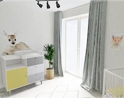 Pokój dziecięcy w Stężycy - Mały szary pokój dziecka dla chłopca dla dziewczynki dla niemowlaka, styl nowoczesny - zdjęcie od Beton i Drewno - Studio Projektowania Wnętrz