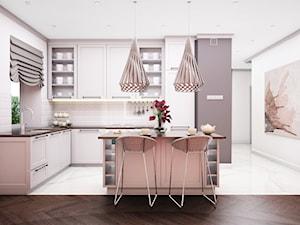 Mieszkanie 60m2 - Średnia biała szara kuchnia w kształcie litery l w aneksie z wyspą z oknem, styl prowansalski - zdjęcie od Julia Wilczyńska