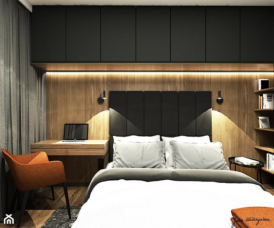Mieszkanie 58m2, Kraków - Mała czarna sypialnia małżeńska, styl nowoczesny - zdjęcie od Julia Wilczyńska