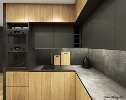 Mieszkanie 58m2, Kraków - Średnia otwarta szara kuchnia w kształcie litery l, styl nowoczesny - zdjęcie od Julia Wilczyńska