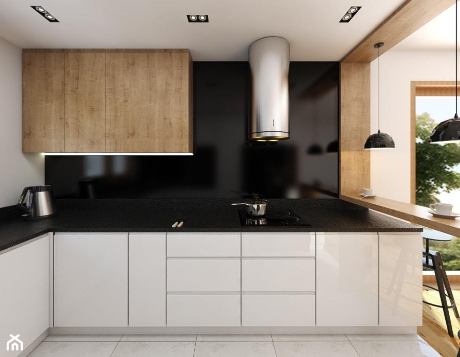 Kuchnia 9m2 - Średnia biała czarna kuchnia w kształcie litery l w aneksie, styl nowoczesny - zdjęcie od Julia Wilczyńska ⚫️ punctum architecture