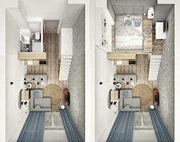 MiniMaxy - MINImum powierzchni, MAXImum funkcjonalności - Mały szary biały salon z kuchnią z jadalnią z antresolą, styl nowoczesny - zdjęcie od Julia Wilczyńska