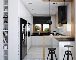 Kuchnia 9m2 - Średnia otwarta biała kuchnia w kształcie litery g w aneksie z oknem, styl nowoczesny - zdjęcie od Julia Wilczyńska