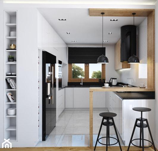 Aranżacje wnętrz - Kuchnia: Kuchnia 9m2 - Średnia otwarta biała kuchnia w kształcie litery g w aneksie z oknem, styl nowoczesny - Julia Wilczyńska. Przeglądaj, dodawaj i zapisuj najlepsze zdjęcia, pomysły i inspiracje designerskie. W bazie mamy już prawie milion fotografii!