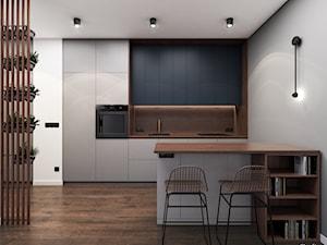 Mieszkanie 55m2, Kraków - Średnia otwarta szara kuchnia dwurzędowa w aneksie, styl minimalistyczny - zdjęcie od Julia Wilczyńska