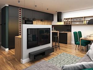 Mieszkanie 50m2, Kraków - Mały biały salon z kuchnią z jadalnią, styl nowoczesny - zdjęcie od Julia Wilczyńska ⚫️ punctum architecture