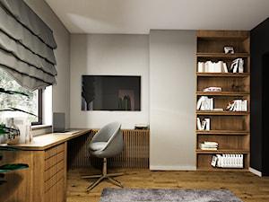 Dom 130m2, Sułków - Średnie czarne szare biuro domowe kącik do pracy w pokoju, styl nowoczesny - zdjęcie od Julia Wilczyńska