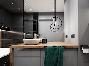 Mieszkanie 48 m2, Wrocław - Średnia czarna szara łazienka bez okna, styl tradycyjny - zdjęcie od Julia Wilczyńska ⚫️ punctum architecture