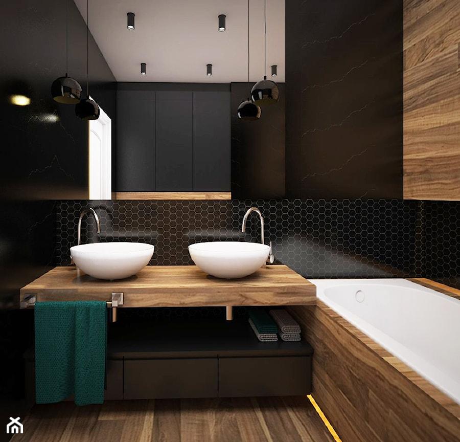 Mieszkanie 50m2, Kraków - Mała czarna łazienka na poddaszu w bloku w domu jednorodzinnym bez okna, styl nowoczesny - zdjęcie od Julia Wilczyńska ⚫️ punctum architecture