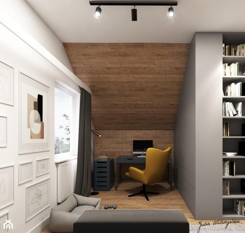 Mieszkanie na poddaszu 54 m2, Kraków - Średnia szara sypialnia dla gości na poddaszu, styl nowoczes ... - zdjęcie od Julia Wilczyńska-Kuciapska ⚫️ punctum architecture - Homebook