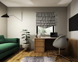 Dom 130m2, Sułków - Średnie szare biuro kącik do pracy w pokoju, styl nowoczesny - zdjęcie od Julia Wilczyńska