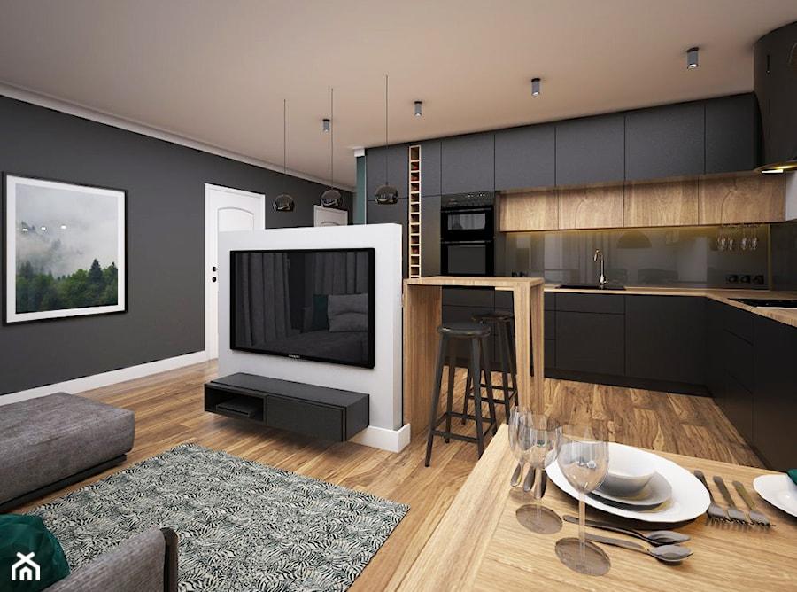 Mieszkanie 50m2, Kraków - Średni czarny salon z kuchnią z jadalnią, styl nowoczesny - zdjęcie od Julia Wilczyńska ⚫️ punctum architecture
