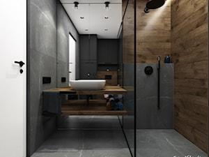 Mieszkanie 58m2, Kraków - Średnia czarna łazienka w bloku w domu jednorodzinnym bez okna, styl nowoczesny - zdjęcie od Julia Wilczyńska ⚫️ punctum architecture