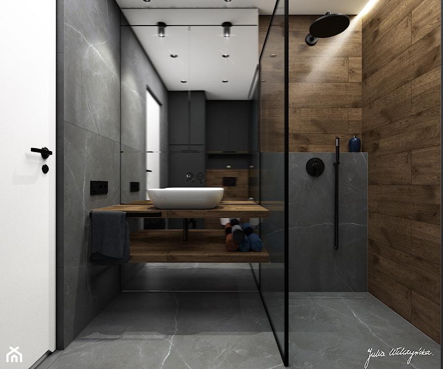 Mieszkanie 58m2, Kraków - Średnia czarna łazienka w bloku w domu jednorodzinnym bez okna, styl nowoczesny - zdjęcie od Julia Wilczyńska