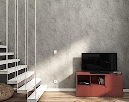 MiniMaxy - MINImum powierzchni, MAXImum funkcjonalności - Średni szary biały salon z tarasem / balkonem, styl nowoczesny - zdjęcie od Julia Wilczyńska