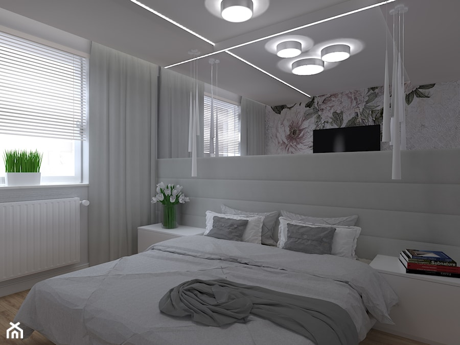Aranżacje wnętrz - Sypialnia: Apartament Iława - Mała biała szara sypialnia małżeńska, styl glamour - Celine. Przeglądaj, dodawaj i zapisuj najlepsze zdjęcia, pomysły i inspiracje designerskie. W bazie mamy już prawie milion fotografii!