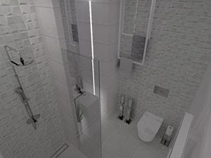Apartament Iława - Mała szara łazienka na poddaszu w bloku w domu jednorodzinnym bez okna, styl nowoczesny - zdjęcie od Celine