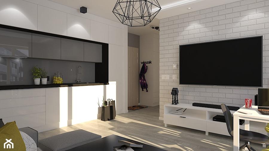 Mieszkanie W Bloku Salon Z Aneksem Kuchennym średnia