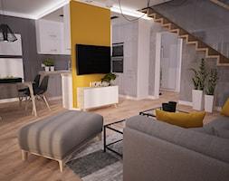 Projekt wnętrza mieszkania w bloku - Szczecin - Średni szary żółty salon z kuchnią z jadalnią, styl nowoczesny - zdjęcie od OpenARCH