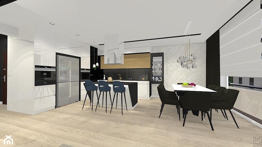 Aranżacje wnętrz - Jadalnia: Styl nowoczesny na nowym osiedlu w Radomiu - Duża otwarta czarna szara jadalnia w kuchni, styl nowoczesny - Architextura. Przeglądaj, dodawaj i zapisuj najlepsze zdjęcia, pomysły i inspiracje designerskie. W bazie mamy już prawie milion fotografii!