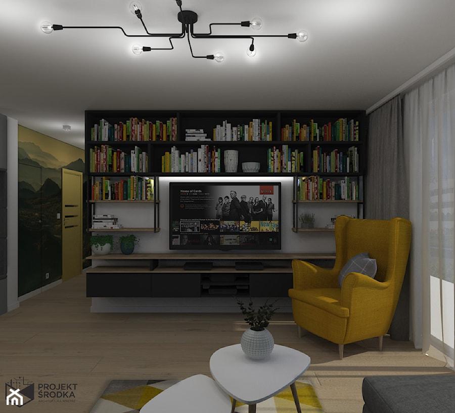 Widok na zabudowę biblioteczną z TV - zdjęcie od Projekt Środka