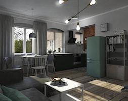 Salon z widokiem na kuchnię otwartą - zdjęcie od Projekt Środka - Homebook
