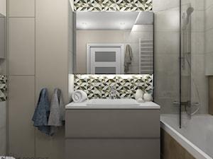 Wnętrza WodnaNuta - Mała beżowa łazienka w bloku w domu jednorodzinnym bez okna, styl klasyczny - zdjęcie od Projekt Środka