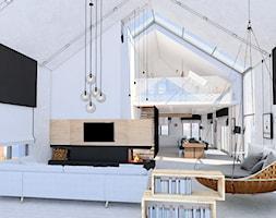 Dom jednorodzinny - okolice Lęborka - Duży szary biały salon z kuchnią z jadalnią, styl skandynawski - zdjęcie od Radkiewicz Architektura